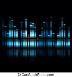 Vector Music Equalizer - Vector Illustration of a Blue Music...