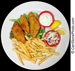 A Plate of Battered Fried Fish Fillets with French Fries,...