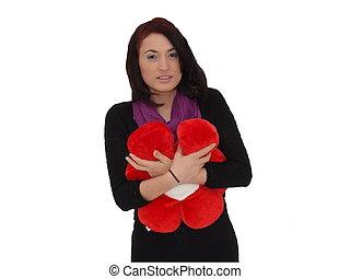 Frau mit Blume - Frau mit Stoffblume