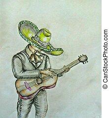 Mariachi, Cinco De Mayo - Cinco De Mayo, colored pencils