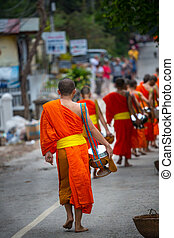 Monks in Laos - buddhist monks in Laos