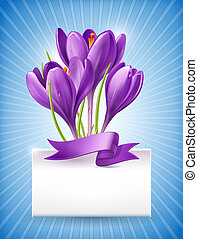 Bouquet of spring flowers with a note - Vector illustration....