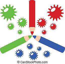 RGB color profile color pencil in colorful concept...