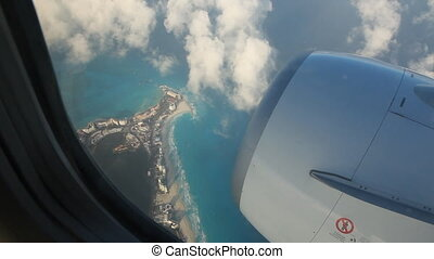 Flying over Cancun - Aerial view of Cancun, Mexico