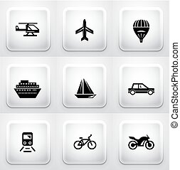 Set of square application buttons: navigation - Set of...