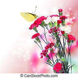 Pink Carnation with Butterfly - Pink carnation flowers with...