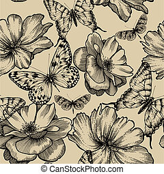 Seamless pattern with roses and butterflies, hand drawing...
