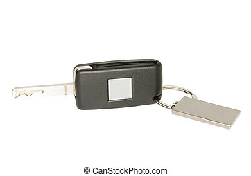 Automobile key with blank plate and keychain