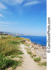 San Remo town and coast, italian riviera landscape, Liguria,...