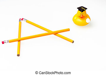 Conceptua pencils & duck - Pencil & rubber ducky holding a...