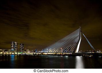 Suspension bridge - The Erasmus bridge at night in...