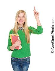 Portrait of happy student girl having idia