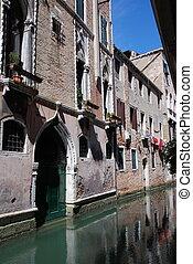 venice cannal - a small canal with nice house