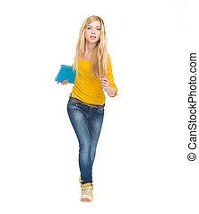 Full length portrait of student girl running straight