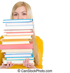 Student girl holding stack of books