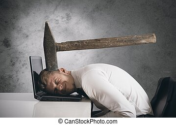 Stress - Concept of stress with businessman with an hammer...