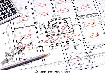 Architectural background - Architectural drawing, pencil,...