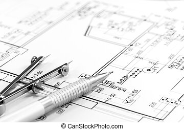 Architect plan and tools - Drawing compass and pencil on...