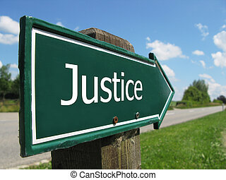 JUSTICE road sign