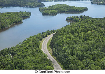 Aerial view of Mississippi River in northern Minnesota - An...
