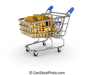 Shopping basket with golden bars