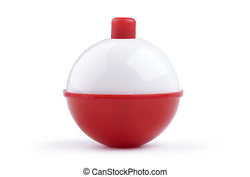 Red and white fishing bobber isolated on white - A close up...