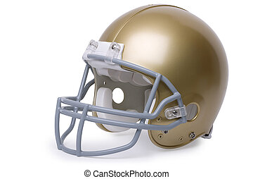 Gold football helmet isolated on a white background - Gold...