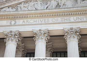 Facade of National Archives building in Washington DC -...