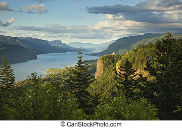 Columbia River Gorge at sunset - A view of the Columbia...