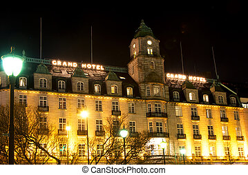 Grand Hotel in Oslo Norway at winter night - OSLO, NORWAY -...
