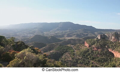Panoramic view of mountain canyon with road, Siurana, Spain