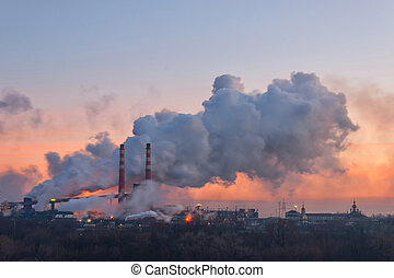 Pipes and polluting smoke - Chemical factory in the morning,...