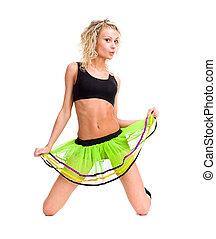 sensual woman in short skirt - Full length of sensual woman...