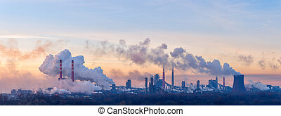 Chemical factory on morning - Panorama of the chemical...