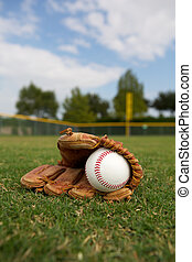 Baseball and Glove in the Outfield - New Baseball in a Glove...