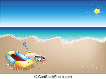 An Illustration of Inflatable Boat and Scuba Mask - An...