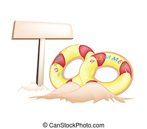 Illustration of Inflatable Ring and Wooden Placard - An...