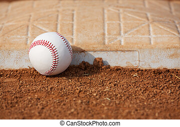 Baseball near Third Base with room for copy