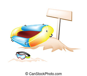 Inflatable Boat and Scuba Mask with Wooden Placard - An...