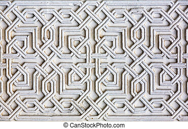 Moorish facade ornament, closeup of plaster wall
