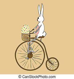 Vintage Easter bunny biking card - Retro Easter bunny biking...