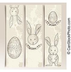 Vintage Easter bunny banner set