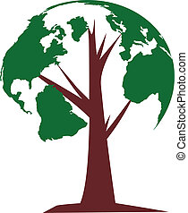 tree of world - The globe growing in the branches of a tree