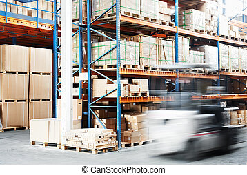 worker driver at warehouse forklift loader works - warehouse...