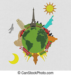 World travel concept with stitch style on fabric background