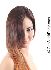 Beautiful dyed hair of a woman on a white isolated...