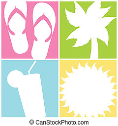 beach icons over squares background vector illustration