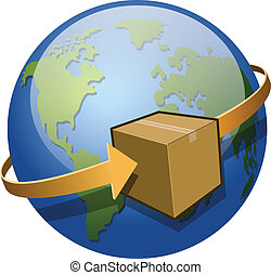 Global Shipping - A package circling the globe. Saved as EPS...