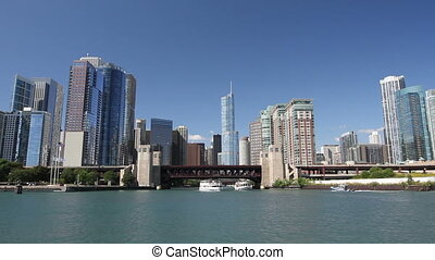 Approaching Chicago from Water - Smooth dolly shot of the...