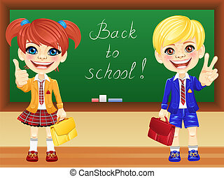 Vector smiling schoolchildren near blackboard - smiling...